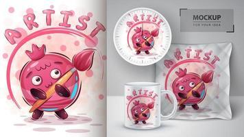 cartaz de fruta do artista dos desenhos animados
