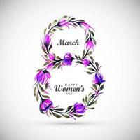 dia da mulher flor roxa em forma 8 vetor
