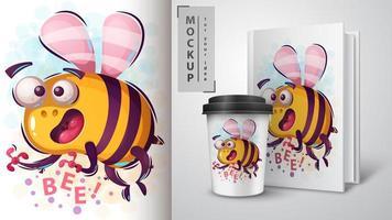 cartaz de abelha louca dos desenhos animados vetor