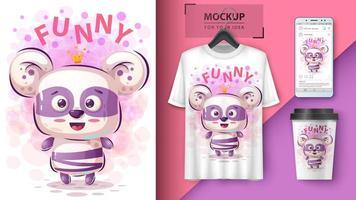 desenhos animados engraçados da princesa panda vetor