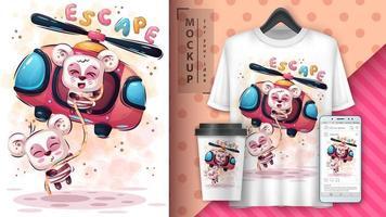 panda dos desenhos animados do grande escape