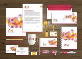 conjunto de modelo promocional de negócios de cubo colorido vetor