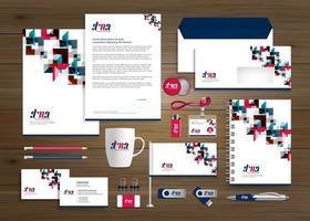 conjunto de identidade e promoção de negócios de design de ângulo azul vetor