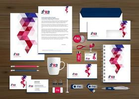 conjunto de identidade e promoção de negócios de desenho geométrico vetor