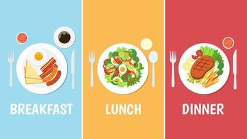 conjunto de café da manhã, almoço e jantar vetor