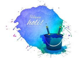 cartão feliz holi com balde e respingo de tinta grande vetor