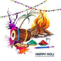 cartão em aquarela com elementos coloridos de holi e festão