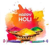 cartão holi com elementos de festival e salpicos coloridos