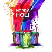 cartão feliz holi com splash arco-íris e baldes vetor