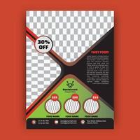 cartaz de menu de comida de restaurante moderno vetor
