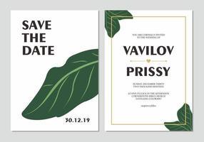 conjunto de convite de casamento simples folha