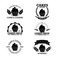 logotipos de padaria plana com cupcake vetor