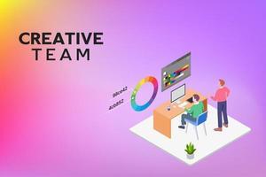 equipe criativa usando o dispositivo do computador vetor