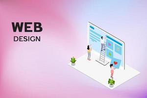pessoas projetando página da web usando escada vetor