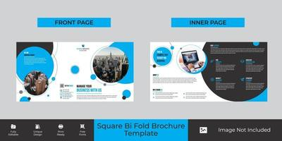 design de modelo de folheto corporativo quadrado bi-fold