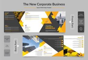 design de modelo de folheto corporativo quadrado bi-fold cor amarela