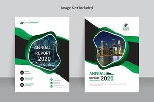 design de modelo de relatório anual de negócios verde e branco