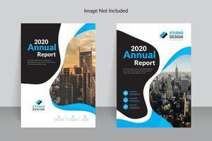 modelo de relatório anual de forma fluida azul e preto