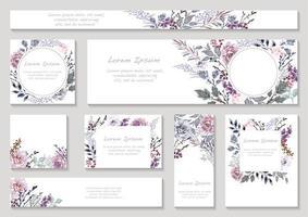 conjunto de cartões florais em tons roxos com espaço de texto