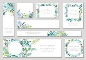 conjunto de cartões florais em tons azuis com espaço de texto