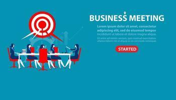 página de destino da reunião de empresária vetor