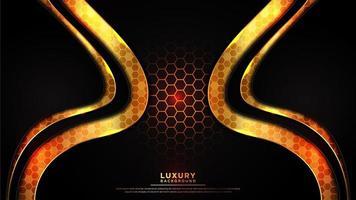 fundo escuro ondulado com padrão hexagonal dourado brilhante