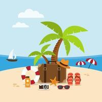 cena de praia do horário de verão vetor