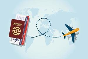 passaporte, cartão de embarque e avião voando vetor