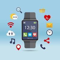 relógio inteligente e aplicações vetor