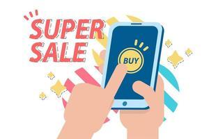 banner de venda super com pessoa às compras no telefone vetor