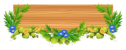 placa de madeira com videira e flor vetor