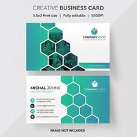 cartão de visita criativo verde vertical hexágono azul vetor