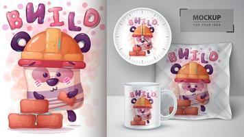 cartaz de construtor de urso dos desenhos animados vetor