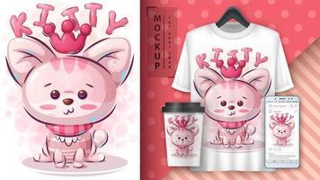 gatinho cor-de-rosa da princesa poster vetor