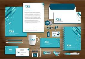 identidade de design de várias linhas azul e itens promocionais vetor