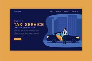 página de destino de táxi online vetor