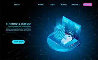 conceito de armazenamento de dados em nuvem com rack de laptop e servidor vetor