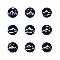 montanha em conjunto de ícones do círculo vetor