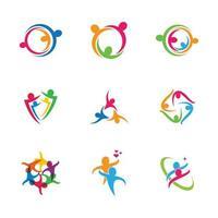 conjunto de ícones de trabalho em equipe de pessoas de negócios vetor