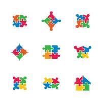 ícone de quebra-cabeça definido em cores brilhantes vetor