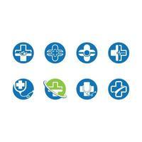 conjunto de ícones de cruz médica em círculos vetor