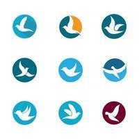 pomba em conjunto de ícones de círculos vetor