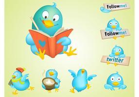 pássaros do twitter legal vetor