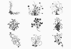 Pacote de vetores de redemoinhos florais
