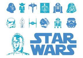 Logotipo e personagens de Star Wars vetor