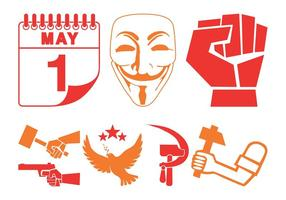 Política e revolução Icons vetor
