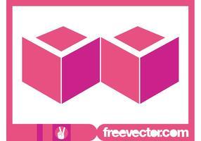 Logotipo de cubos rosa vetor