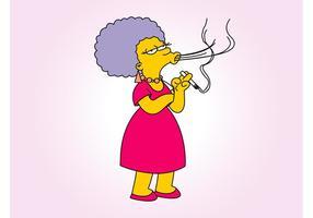 Mulher de desenhos animados para fumar vetor
