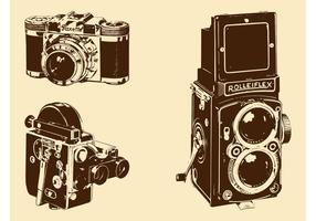 Conjunto de câmeras retro vetor