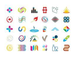 Ícone colorido do logotipo configurado vetor